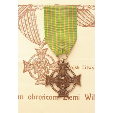 Numerowany Krzyż Zasługi Wojsk Litwy Środkowej z dokumentem nadania