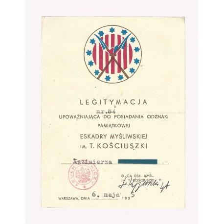 Legitymacja do odznaki eskadry im. Tadeusza Kościuszki