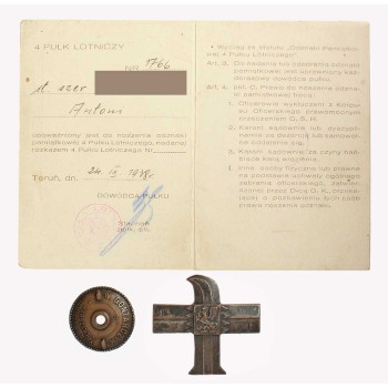 Odznaka 4 Pułku Lotniczego z legitymacją