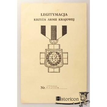Dokument nadania Krzyża AK - Batalion Zośka