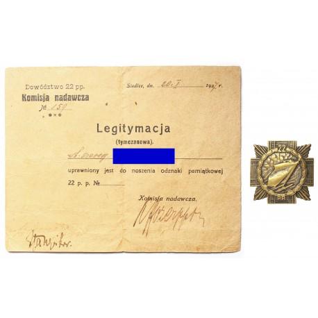 Odznaka 22 Pułku Piechoty  z dokumentem nadania