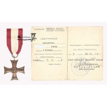 Krzyż Walecznych Kretchmera z legitymacją