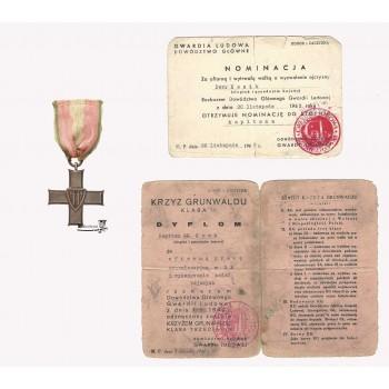 Krzyż Grunwaldu III klasy z konspiracyjnym dokumentem nadania oraz konspiracyjną nominacją oficerską