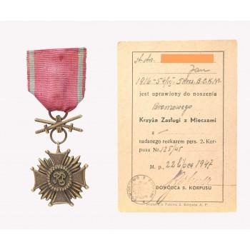 Brązowy Krzyż Zasługi z Mieczami z dokumentem nadania