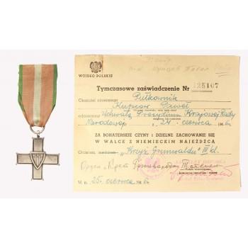 Krzyż Grunwaldu III klasy z dokumentem nadania