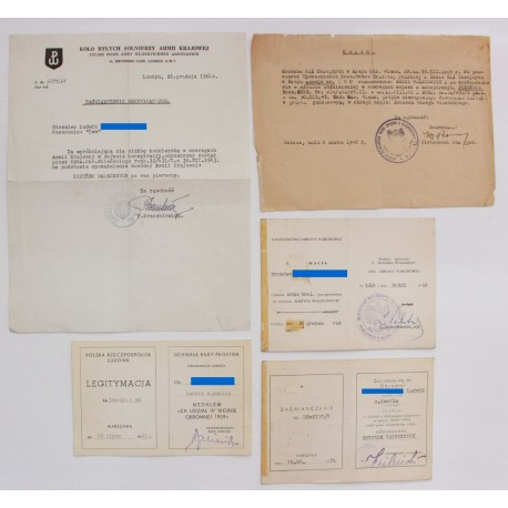 Zestaw dokumentów po żołnierzu AK odznaczonym konspiracyjnie KW