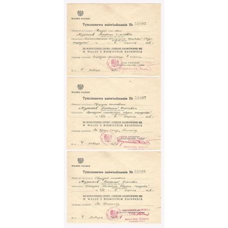 Dokumenty nadania na krzyż VM 4 klasy w złocie i dwa inne medale