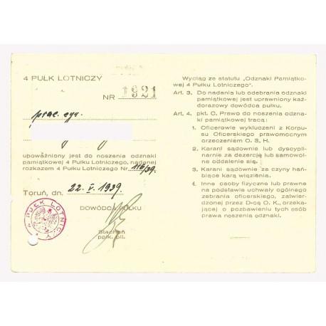 Legitymacja do odznaki 4 Pułku Lotniczego