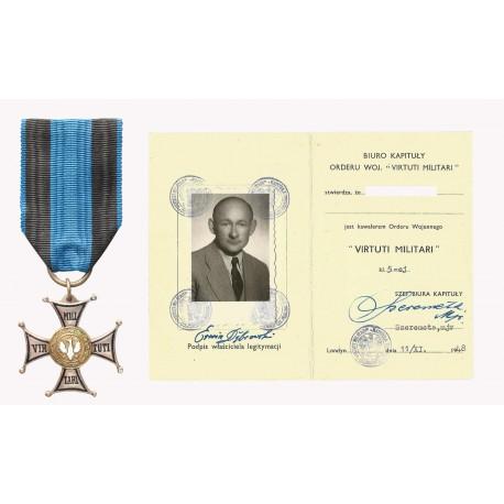Krzyż Orderu Virtuti Militari 5 klasy z dokumentem nadania