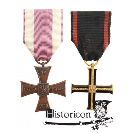 Krzyż Niepodległości i Krzyż Walecznych z dokumentami