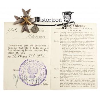 1 Pułk Artylerii Przeciwlotniczej Lekkiej z dokumentem nadania