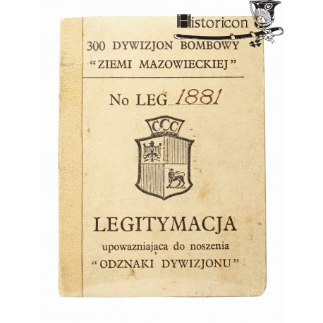 Odznaka 300 Dywizjonu z legitymacją
