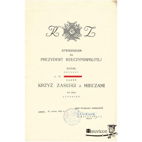 Dyplom nadania Złotego Krzyża Zasługi z Mieczami