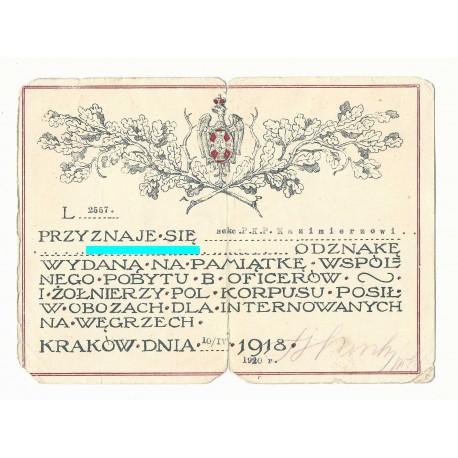 Dyplom na odznakę internowania